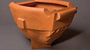 """""""Magister Inn"""" by William Daley. 1993, unglazed stoneware; collection of Liam Daley."""