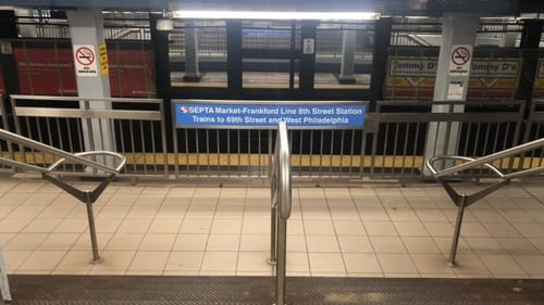 It never fails. Someone at the Eighth Street station needs to talk to me. (Photo by Alaina Johns.)