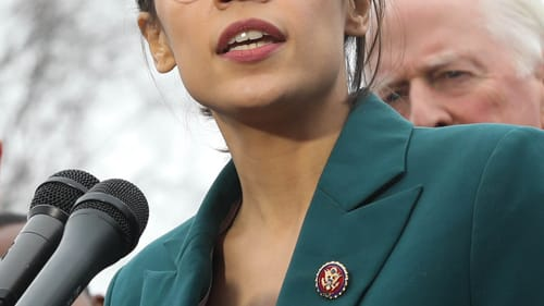 Alexandria Ocasio-Cortez speaks about her Green New Deal in a February 2019 presser. (Photo via Wikimedia Commons.)