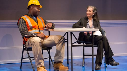 Expertly revealed loyalties: Oge Agulué and Bebe Neuwirth in PTC's 'A Small Fire.' (Photo by Mark Garvin.)