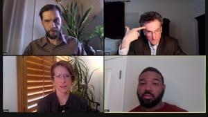 A screenshot of a Zoom meeting has two white men, a white woman, and Black man. They all have serious expressions.