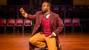 Akeem Davis's Bertram is about to find out that's no lady, that's his wife. (Photo courtesy of Philadelphia Artists' Collective)