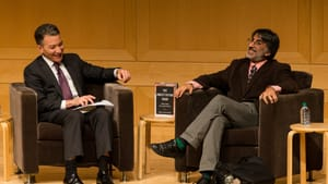 National Constitution Center President and CEO Jeff Rosen moderates a conversation with legal scholar Akhil Reed Amar. (Photo by Michael Zorn)