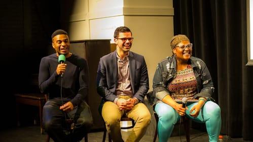 Funny and fascinating: (L to R) Setoiyo Ekpo, Adrian Rivera-Reyes, and Katonya Mosley. (Photo by Ralph Ferro.)