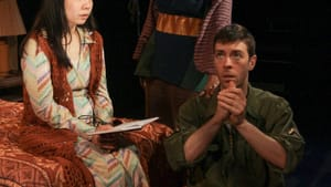 Timelines splinter: Bi Jean Ngo, Cathy Simpson, and James Kern in 'Among the Dead.' (Photo courtesy of Theatre Exile.)