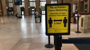 Six feet apart…in the station, that is. (Photo by Roz Warren.)