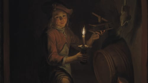 'Boy with a Mousetrap by Candlelight' (c. 1664-5), Dominicus van Tol, The Leiden Collection. (Image courtesy of Arthur Ross Gallery.)