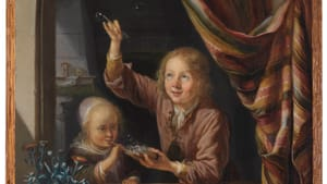 'Children at a Window Blowing Bubbles' (c. 1660), Dominicus van Tol, The Leiden Collection. (Image courtesy of Arthur Ross Gallery.)