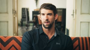 In the film, Olympic swimmer Michael Phelps helps a little boy overcome his fear. (Photo courtesy of IndieFlix.)