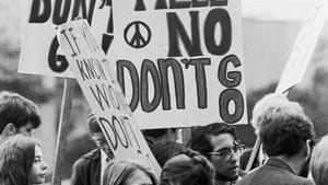 Antiwar protest, 1968: Up against the establishment.