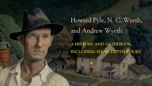 Cover of Artists of Wyeth Country, with a painted illustration of a man with a thoughtful expression in a rural landscape.