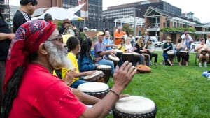 A drum circle from a previous 'Peace Day Philly,' this year expands to over a dozen events. (Photo by Deb Schell Photography.)