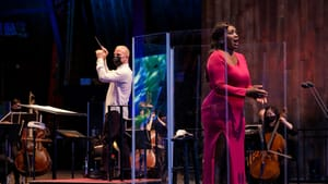 Yannick Nézet-Séguin and soprano Angel Blue, filmed at the Mann Center, made music while observing COVID precautions. (Photo by Jeff Fusco.)