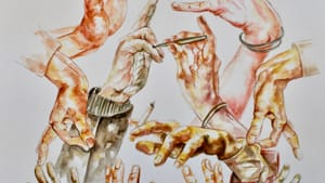 'He Gave Us His Hands' by Emma Baldwin is part of the 'We Can Be Heroes' exhibit.