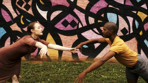 Synergy between art and dancers: Chloe Perkes and Shawn Cusseaux in Amy Hall Garner's 'New Heights.' (Image courtesy of BalletX.)