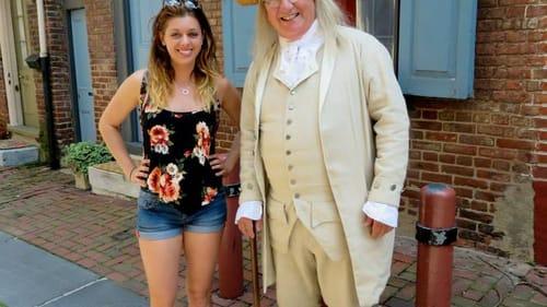 Look who I met! Ben Franklin lives in Elfreth's Alley. (Photo courtesy of Lane Blackmer.)