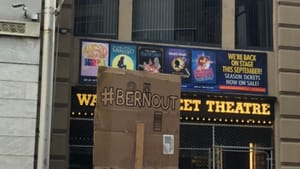 Protesters at the Walnut Street Theatre on June 18 called for Bernard Havard's departure. (Photo by Alaina Johns.)