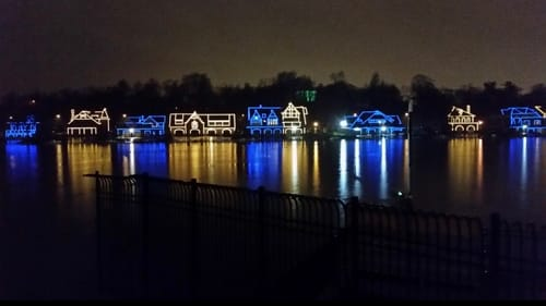 An iconic piece of Philadelphia: Boathouse Row at night. (Photo courtesy of the Department of Parks and Recreation.)