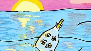 """""""You take those flies, put 'em in a bottle, name 'em, throw 'em out into the Gulf."""" (Illustration for BSR by Hannah Kaplan.)"""