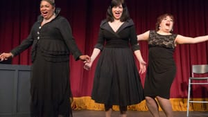 Singing the hell out of 20th-century comedy: Joilet Harris, Mary Elizabeth Scallen, and Jess Conda. (Photo by Mark Garvin.)