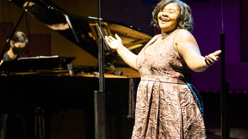 Finding fresh sparkle: soprano Lindsey Reynolds joined Lawrence Brownlee and others. (Photo by Dominic M. Mercier.)
