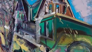 <em>Burned Out Shingle Style</em>, 48 x 40 inches, Oil on Mi-Tientes, 2013
