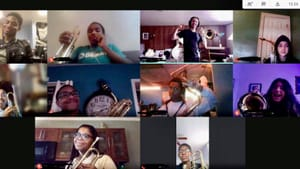 Getting to know students in a different way: a CAPA class of young musicians practicing with band director Brian Ewing. (Image courtesy of Brian Ewing.)