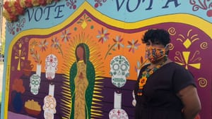 """""""I want the Spanish-speaking immigrants in Philly to feel acknowledged,"""" says 'To the Polls' muralist Candy Alexandra González. (Photo by Alaina Johns.)"""