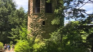 The carillon at Longwood Gardens is a huge, complex instrument inside a stone tower. (Photo by Gail Obenreder.)