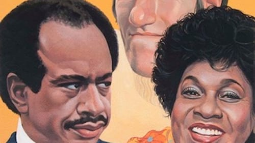 'The Jeffersons': Sherman Hemsley, Isabel Sanford, and Paul Benedict, for 'TV Guide,' 1978, by Charles Santore. (Woodmere Art Museum: Gift of the artist, 2017.)