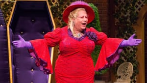 Mark Lazar reprises his annual role as the Dame — this time, playing Ella's dear, departed mother Hazel. (Photo by Mark Garvin.)