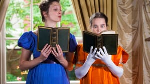 How much do you love these books? Jessica Bedford and Charlotte Northeast in 'The Complete Works of Jane Austen, Abridged.' (Photo by Daniel Kontz.)