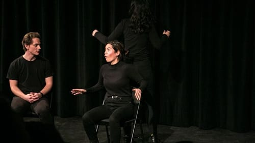 Before performances moved to Zoom: Kelly Conrad (center) and her Not Yet Rated improv teammates. (Photo by Erin Pitts.)
