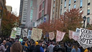 Say it, but make it beautiful: Philadelphians rallied to protect their election. (Photo by Alaina Johns.)