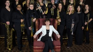 A champion for women in jazz everywhere: Sherrie Maricle and her DIVA Jazz Orchestra. (Photo courtesy of divajazz.com.)