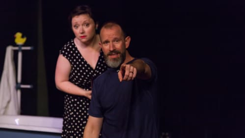 Charlie DelMarcelle with Meghan Winch as audience conspirator. (Photo by Daniel Kontz.)