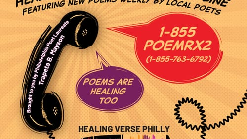 The Healing Verse Poetry Line serves up poetry as well as mental health resources in the city. (Image courtesy of Trapeta Mayson.)