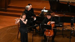 """Dolce Suono Trio at the first """"Rediscoveries: Festival of American Chamber Music"""" in February. (Photo by Pete Checchia.)"""