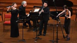 Reviving mid-20th-century American chamber music: Mimi Stillman, Charles Abramovic, Yao Guang Zhai, and Miranda Cuckson. (Photo by Pete Checchia.)
