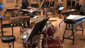 DSO percussionist Thomas Blanchard sets up for 'Lift Off!' at the Hotel Du Pont. (Photo by Gail Obenreder.)