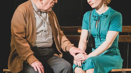 Compelling, engaging, and relatable performances: Kelly Filios and John Cannon in 'Da.' (Photo courtesy of Irish Heritage Theatre.)