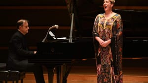 A years-long desire: Mezzo-soprano Dame Sarah Connolly onstage in Philly, with accompanist Julius Drake. (Photo by Pete Checchia.)