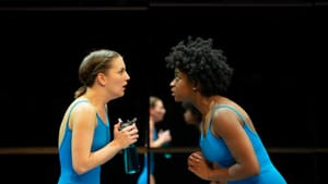 Humor and heart: Campbell O'Hare and Brett Ashley Robinson face off in the Wilma's 'Dance Nation.' (Photo by Johanna Austin.)