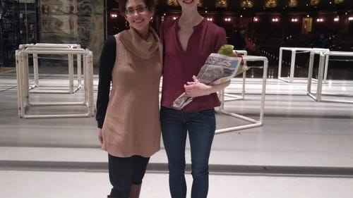 Dance writer Melissa Strong meets her former CCP student, PA Ballet dancer Erin O'Dea, backstage at the 'Nutcracker' in December 2019. (Photo by Yuka Iseda.)