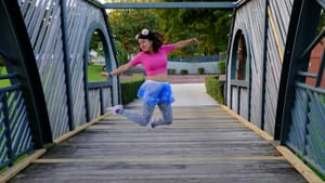 The freedom of existing without choreography: the writer takes a leap. (Photo courtesy of Cynthia Via.)