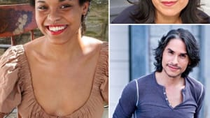 An engaging, diverse cast (clockwise from left): Ang Bey, Christine Toy Johnson, and J. Hernandez star in 'The Days of Re-Creation.' (Images courtesy of PTC.)