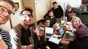 The crew of 'Dead Giveaway,' with Amanda Frederick at the head of the table. (Photo courtesy of Shoestring Gold.)