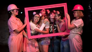 The pink ladies, L to R: Gina Murdock, Megan Thibodeaux, Sarah Knittel, Jenna Strusowski, Alicia Crosby, and Francesca Montanile Lyons. (Photo by Timothy O'Donnell)