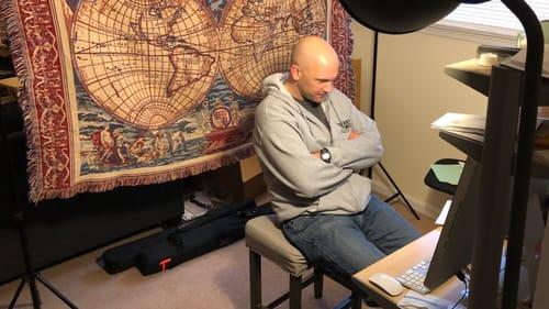 DelShakes producing artistic director David Stradley prepares to host a virtual salon on Coriolanus. (Photo courtesy of Delaware Shakespeare.)