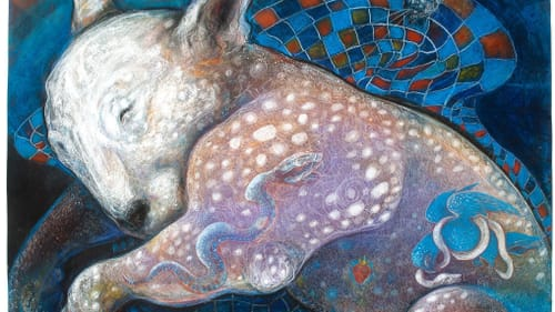 A rendering of a sleeping bull terrier, with fanciful figures floating in the image, with white, blue, red, and purple tones